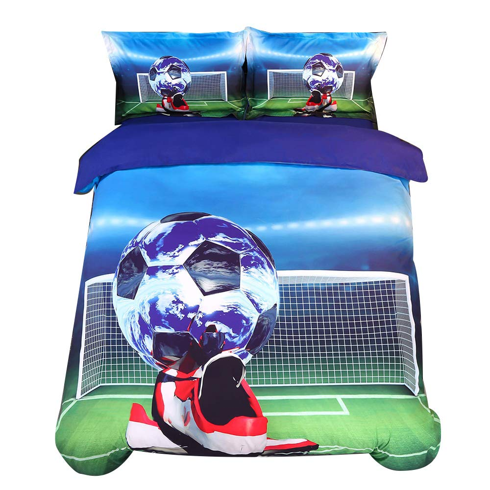 Alicemall 3D Football Bedding Unique Soccer Ball and Shoes Printed Cotton 4-Piece Duvet Cover Set, Twin Size Kids' Bedding Set (Twin, Soccer&Shoes)