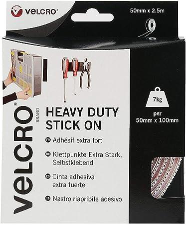 VELCRO ® marque Heavy Duty Stick autocollante 50 mm Noir//Blanc Crochet /& Boucle