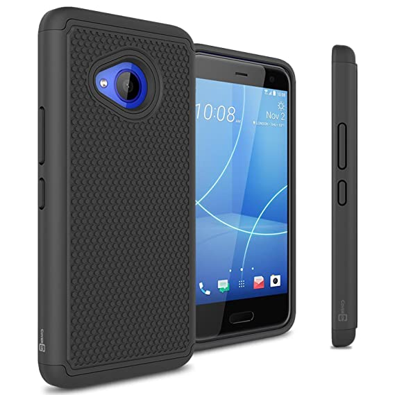 HTC U11 Life Case, CoverON HexaGuard Series Protective Hybrid Hard Phone Cover for HTC U11 Life - Black