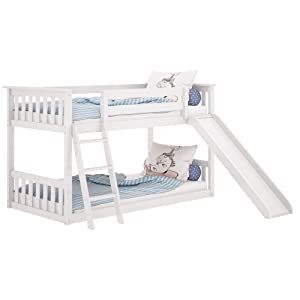 Max & Lily Solid Wood Twin Low Bunk Bed with Slide