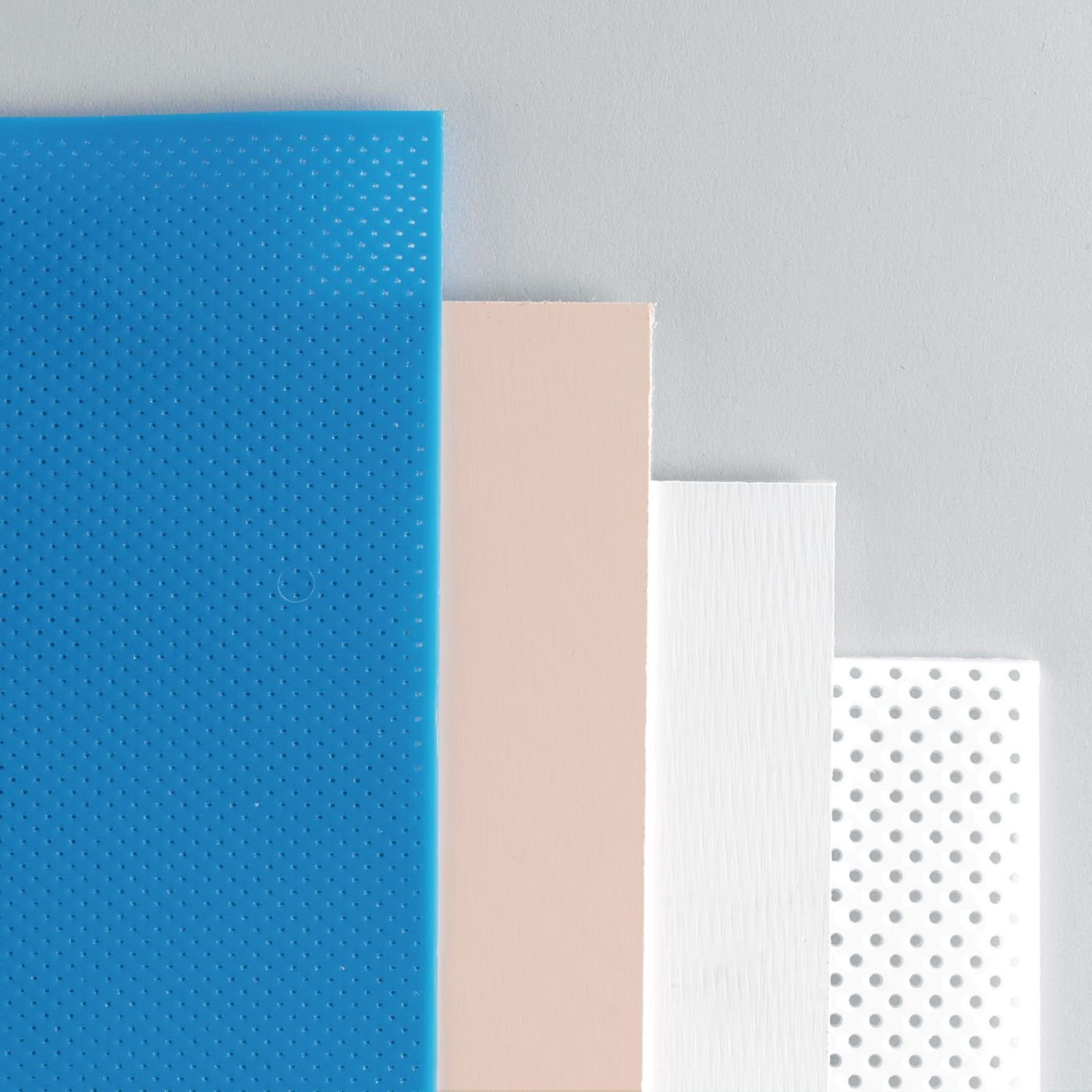 Rolyan Splinting Material Sheets, Small Clinic Pack A, 4 Sheets, 1 Each Aquaplast Pro-Drape-T Optiperf Perforated, Polyform Solid, Polyflex II Solid, Watercolors Ultraperf