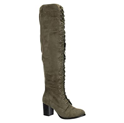 42900d71653 ShoBeautiful Womens Thigh High Boots Lace Up Combat Boots Chunky Heel Over  The Knee Riding Boots