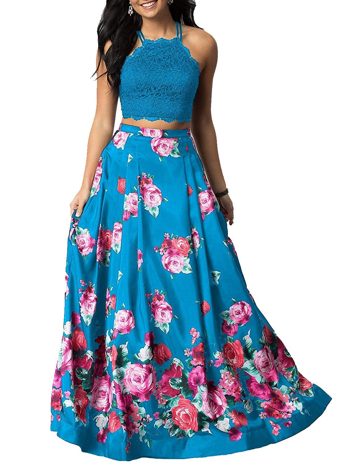 bluee Sulidi Women's Halter Two Pieces Floral Printed Prom Dresses Long Satin Pleated Evening Formal Gown C095