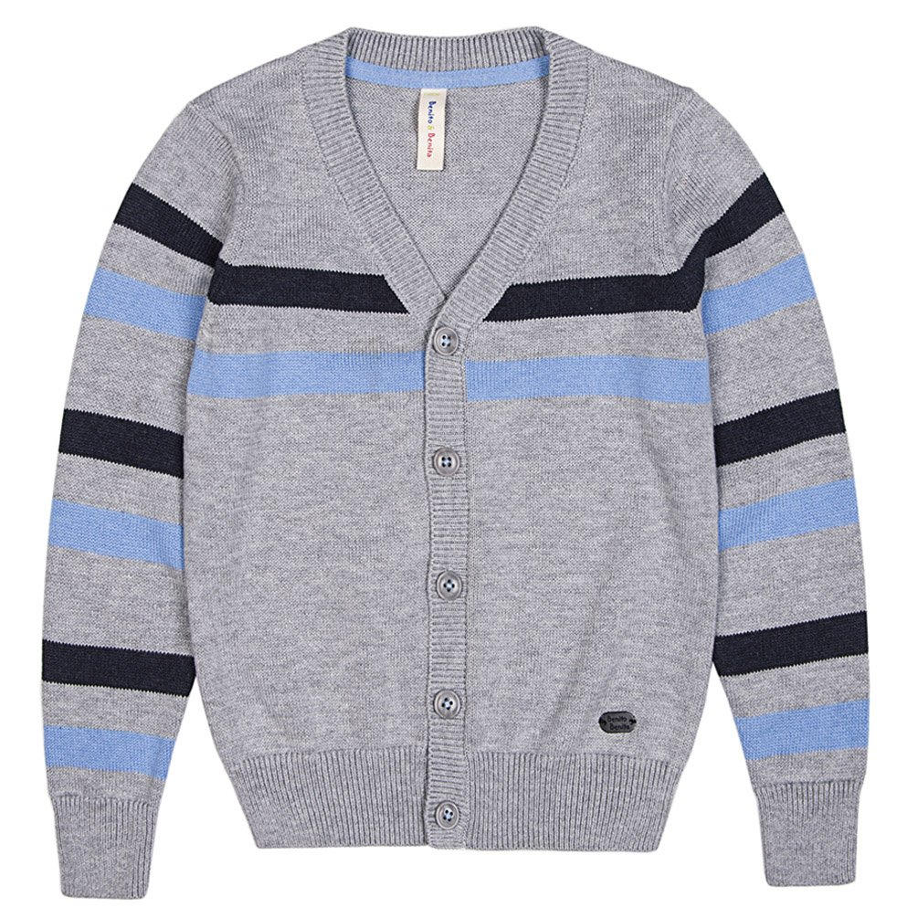 Benito & Benita Boys' Cardigan Sweater V-Neck School Uniform Wool Stripes Sweater for 2-12Y