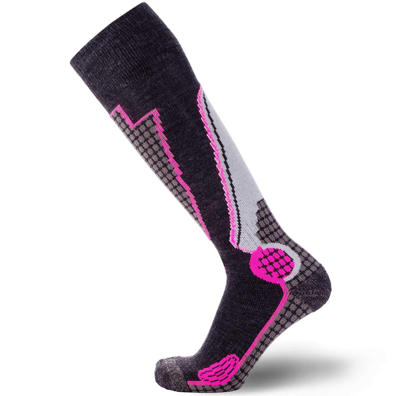 Pure Athlete High Performance Wool Ski Socks - Outdoor Wool Skiing Socks, Snowboard Socks (Black/Grey/Neon Pink, Large) by Pure Athlete