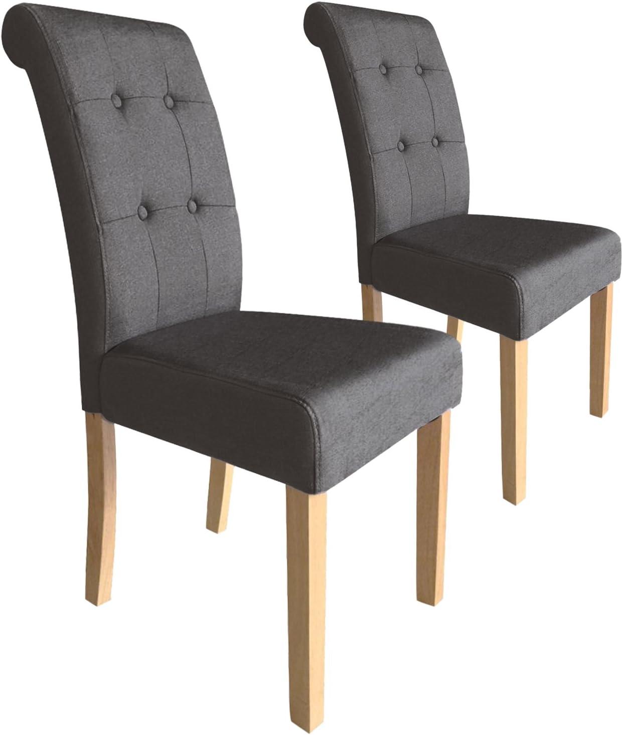 Menzzo Adam – Juego de 2 sillas capitonnées, Tejido, Topo, 47 x 60 x 99 cm: Amazon.es: Hogar
