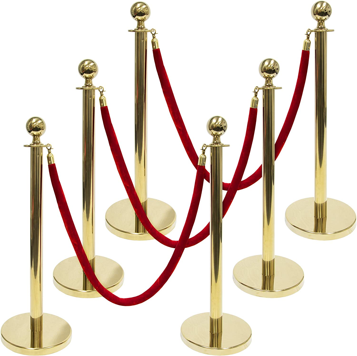 3-Foot Polished Ball Top Stanchions 6-Pack | Includes 4.5-Foot Red Velvet Rope (Gold)