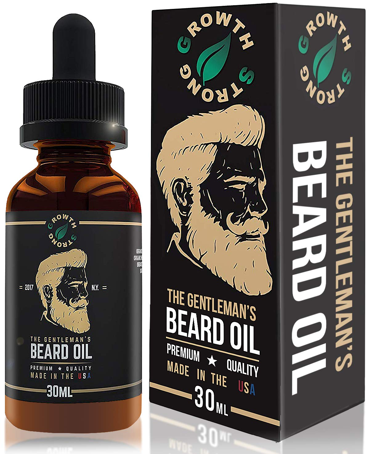Organic Beard Oil Growth, Hand Crafted in the USA, 100% Natural Best Men's Beard Oil. Unscented Leave-in Conditioner, 1oz Balm. Beard and Mustache Hair Softener by Growth Strong.