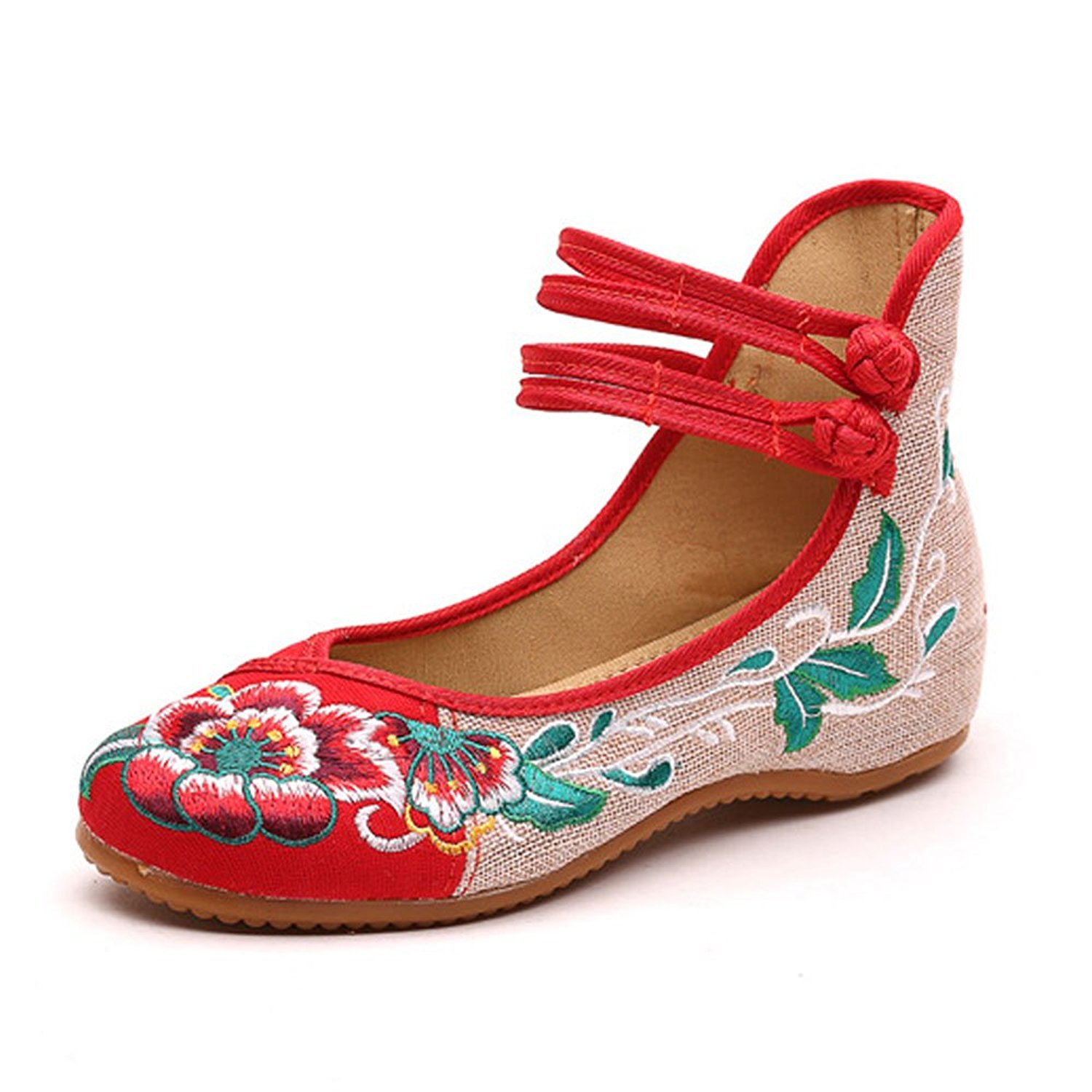 Womens Folk Style Canvas Peony Embroidered Cloth Mary Jane Shoes Breathable Casual Walking Ethnic Dancing Shoes Red,8 B(M) US