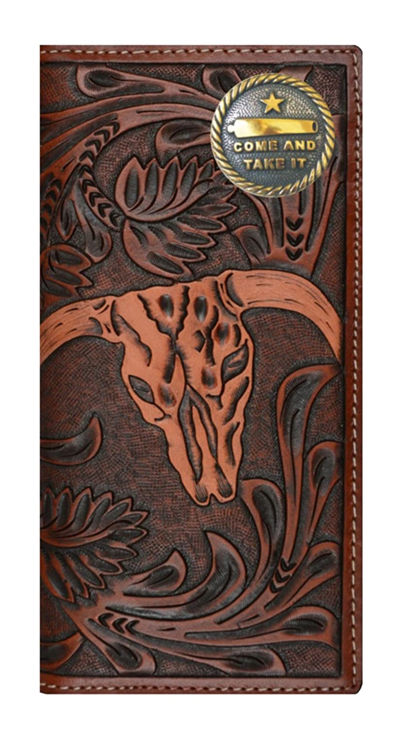 Custom 3D Belt Company New Custom 3D Belt Company New Come And Take It Long Brown and Tan Cow Skull Wallet Cow Skull Wallet