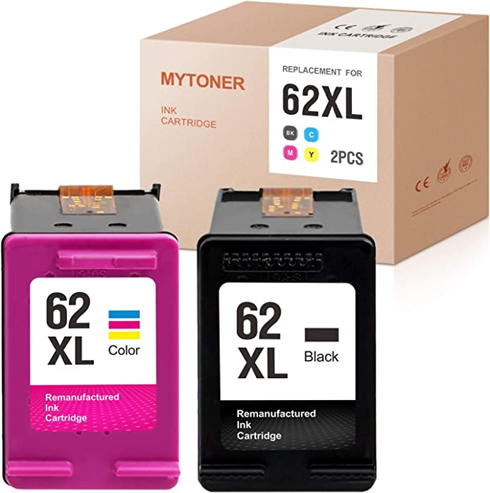 MYTONER Remanufactured Ink Cartridge Replacement for HP 62XL 62 XL for OfficeJet 250 200 Envy 5660 7645 7640 5740 5540 5642 5643 5746 5745 5642 8000 5640 (Black Tri-Color, 2-Pack)