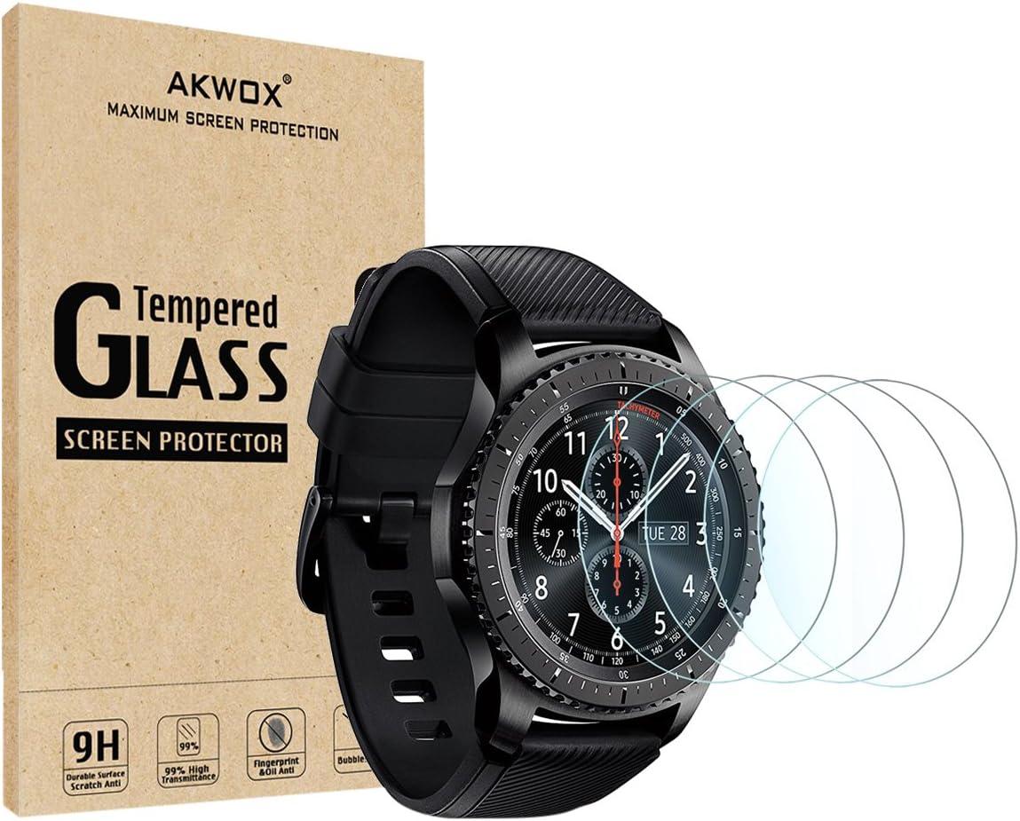 [4 Unidades] Protector de Pantalla para Gear S3 Frontier/Classic Akwox [9H Dureza] Cristal Vidrio Templado para Samsung Gear S3 (1.3 Inch) Cristal Templado