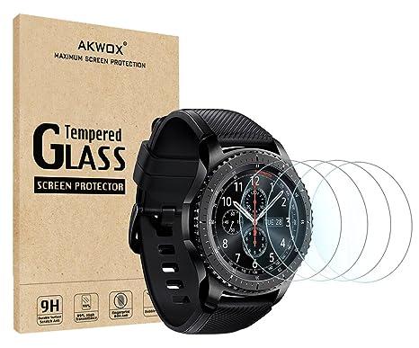 [4 Unidades] Protector de Pantalla para Gear S3 Frontier / Classic Akwox [9H Dureza] Cristal Vidrio Templado para Samsung Gear S3 (1.3 Inch)  Cristal ...