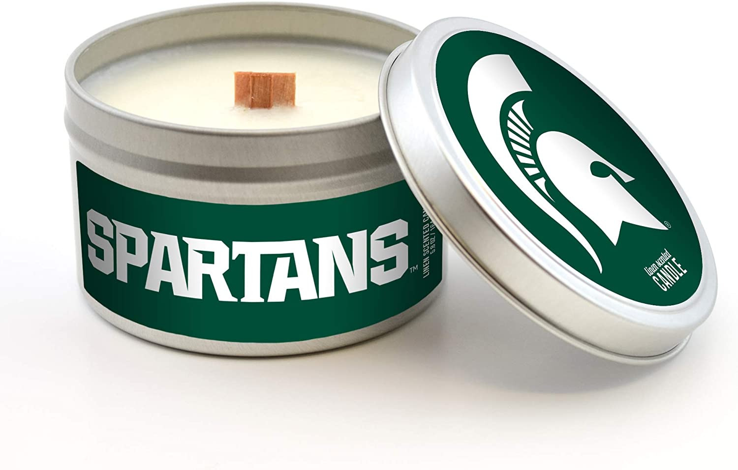 Worthy Promo NCAA Michigan State Spartans 8 oz Vanilla Scented Soy Wax Candle Wood Wick and Lid