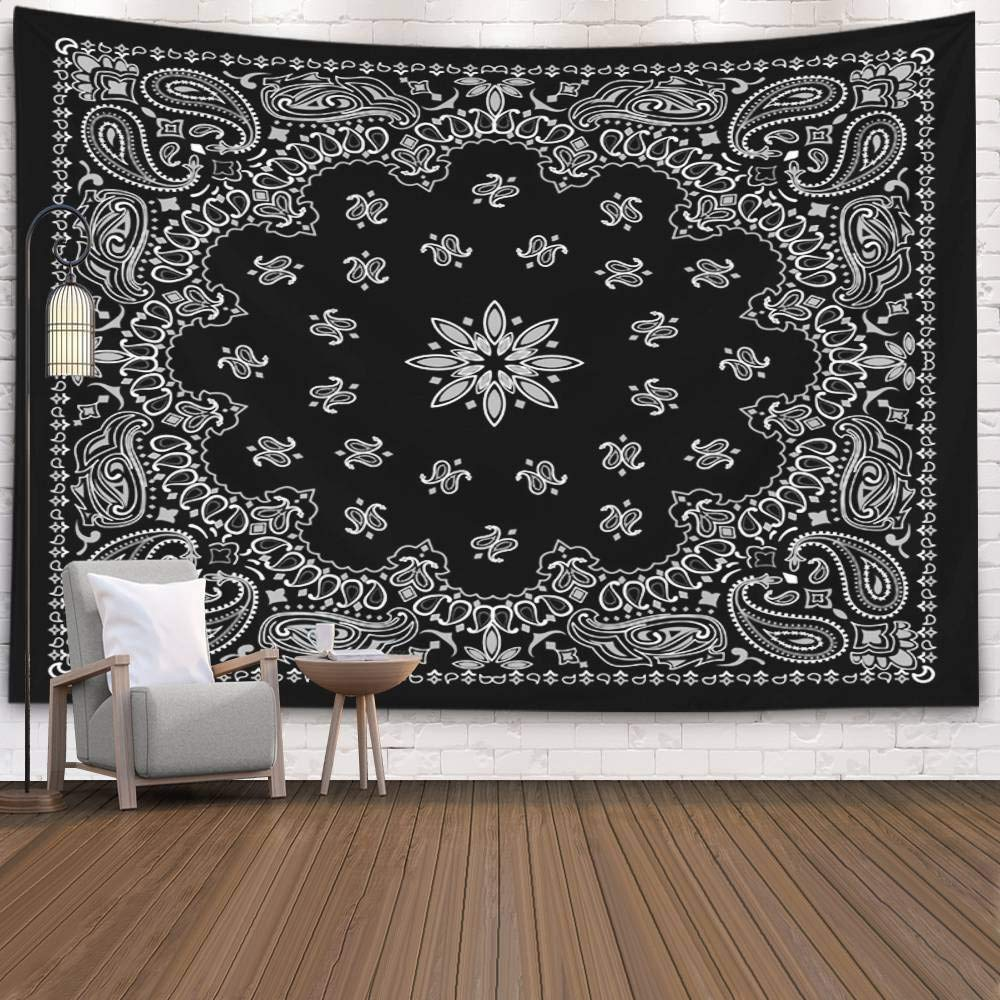 Pamime Tapestry for Men, Home Decor Tapestry Black Paisley Bana Dorm Room Bedroom Living Room 80X60 Inches(200X150Cm) Bedspread Inhouse