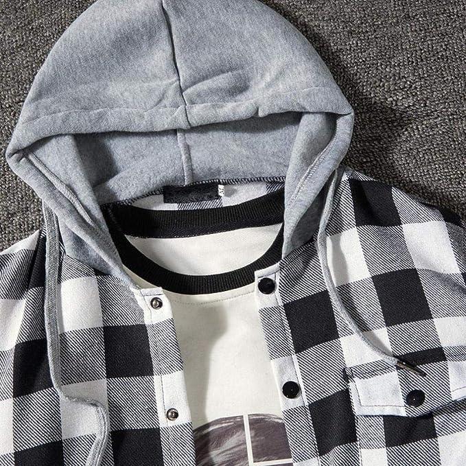 Yvelands Camisa a Cuadros de Manga Larga con Cuello en V Manga Larga Hombre Camisa con Cuello en V Manga Larga de la Blusa Colorblock con Capucha: ...