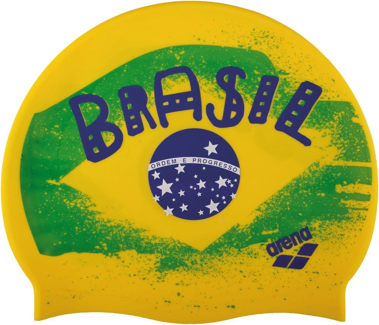 ARENA Silicona Print 2 Gorro De Natación, Hombre, Multicolor (Flag/Brasil), Uni: Amazon.es: Deportes y aire libre