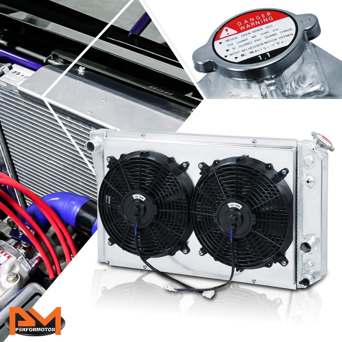For Chevy Corvette/S-10 Blazer V8 84-90 Aluminum 3-Row Cooling Radiator with Fan Shroud
