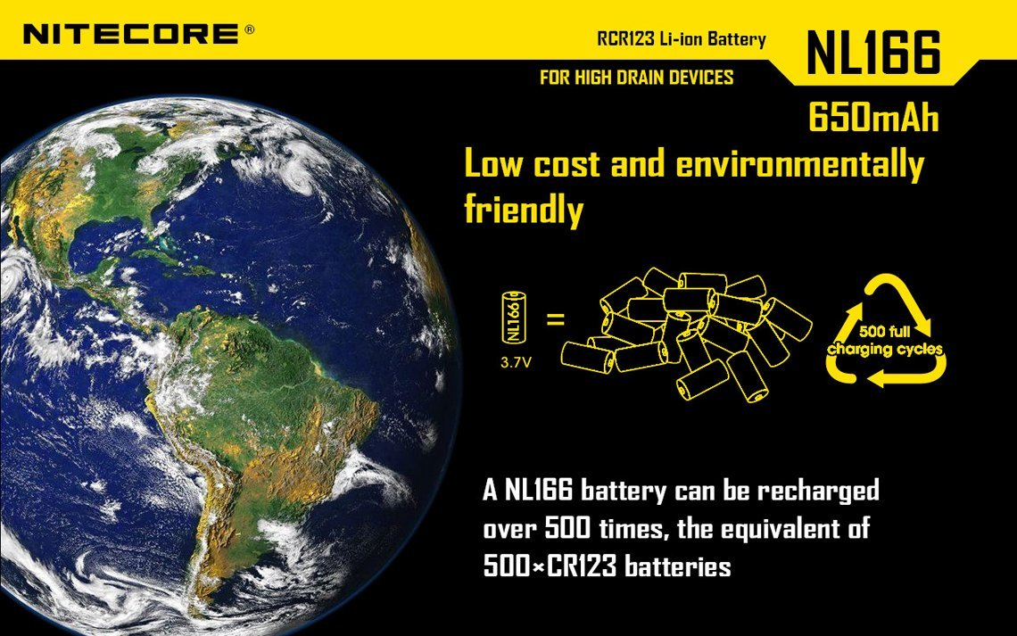Bundle 8 Pack Nitecore NL166 RCR123A 3.7V 650mA 2.4Wh Protected Li-ion 650mAh 16340 Rechargeable Batteries with EdisonBright USB powered LED reading light by EdisonBright (Image #8)