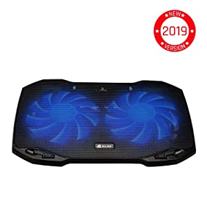 ??KLIM Pro Laptop Cooling Pad - The Most Powerful Slim PC Fan Cooler for Computer - Rapid Cooling Action - 2 Fans Ventilated Support - Light Quiet - USB Laptops Portable Gaming Stand 11 to 15.6 inches