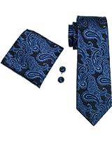 Hi-Tie Mens Plaid Paisley Solid Silk Tie Handkerchief Cufflinks Wedding Necktie Set
