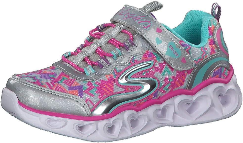 Heart Lights Sneaker, Silver/Multi