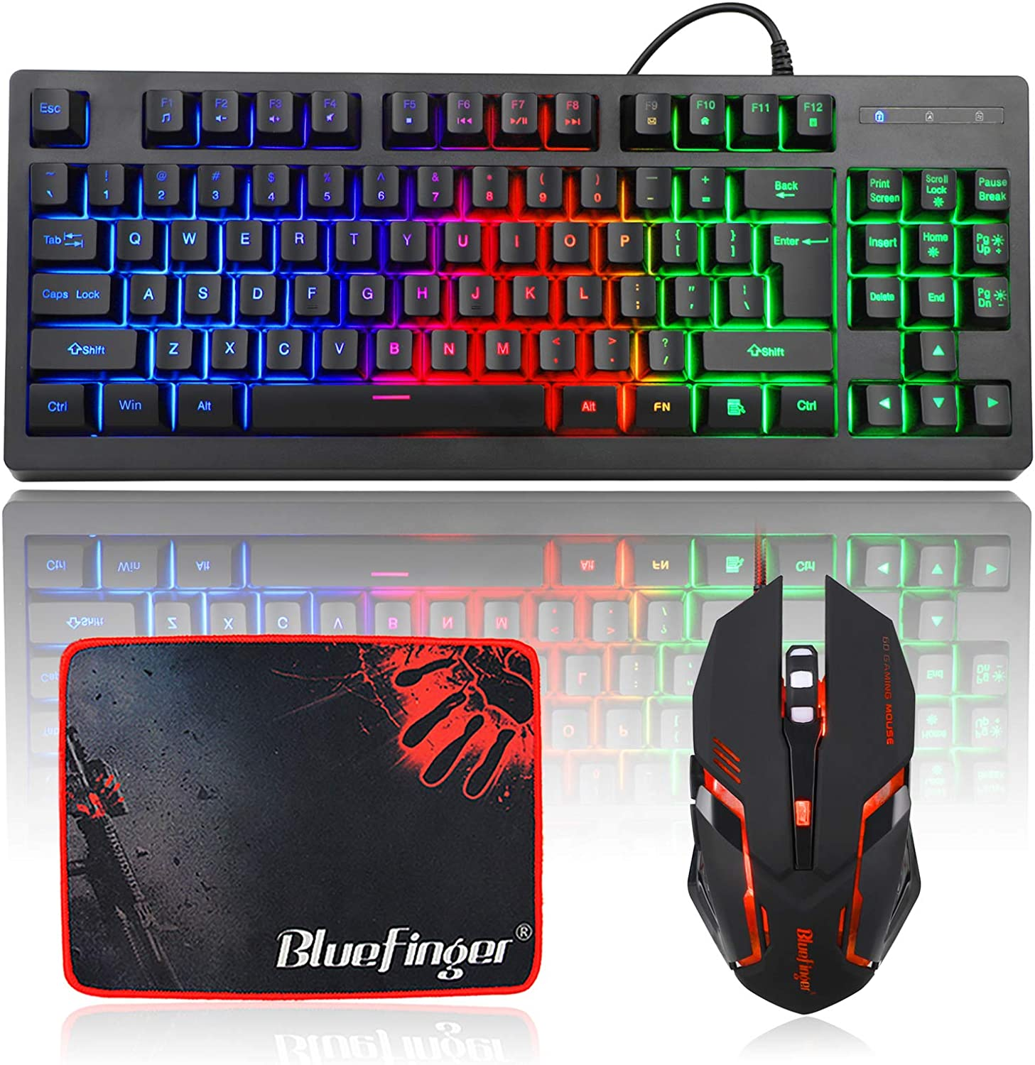 Color : Black, Size : Black Switch Crystalzhong Rainbow LED Backlit Keyboard 87 Keys Dual Mode USB Wired Bluetooth 3.0 Wireless Rechargeable ICE Blue Monochrome Backlighting Gaming Keyboard