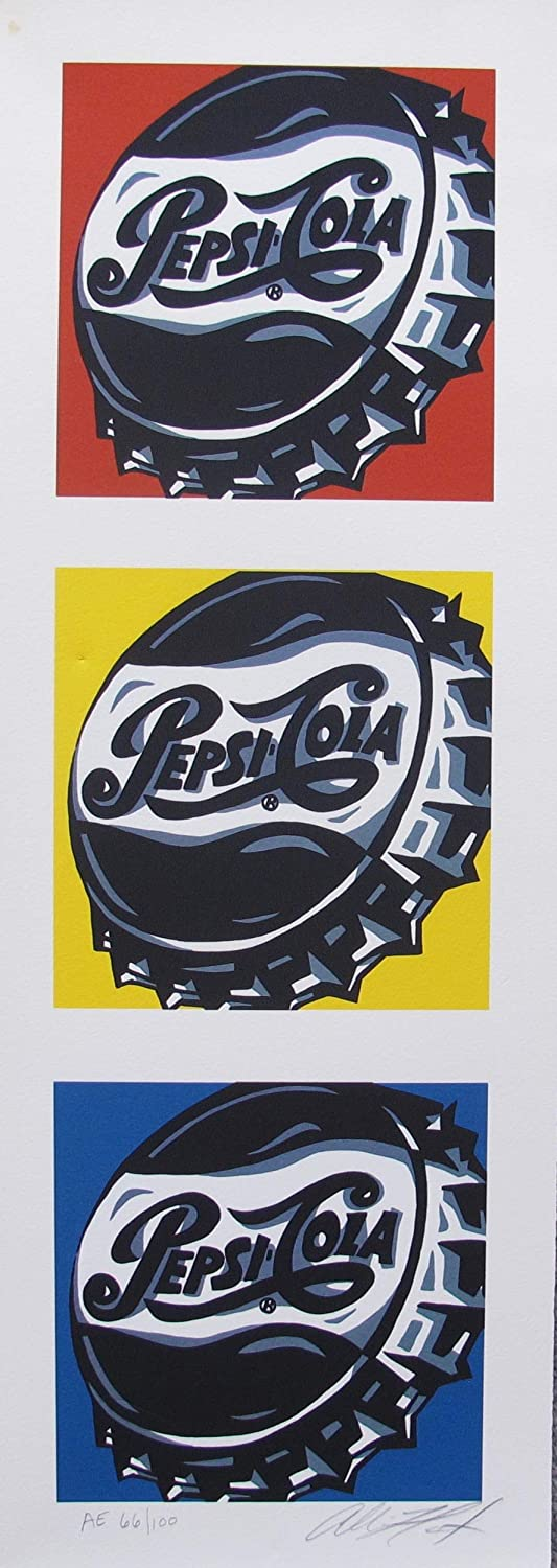 "ALLISON LEFCORT /""PEPSI COLA/"" Hand Signed Limited Edition Lithograph Andy Warhol"