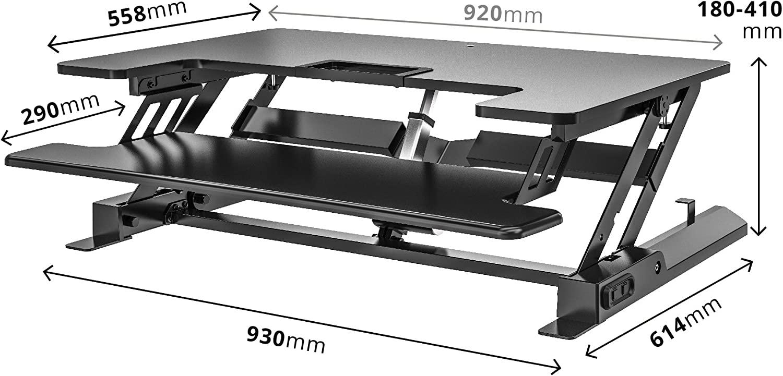 Duronic Sit-Stand Desk DM05D7 Ergonomic Desktop Converter 92x55cm Platform Laptop Keyboard Electric Height Adjustable Office Workstation Raises from 18-41cm Riser for PC Computer Screen