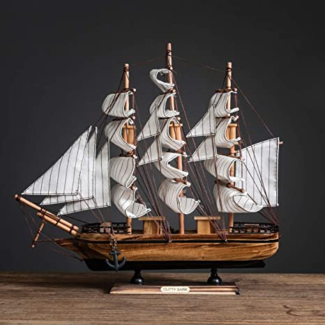 Ocean Theme and Home Decor Blulu 12 Pieces Sailing Ship Model Decor 12 Style Wooden Miniature Sailing Boat Model Handmade Vintage Nautical Sail Ship for Tabletop Ornament