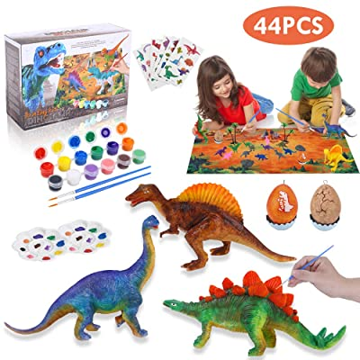 Lehoo Castle Decorate Your Own Dinosaur Figurines 44pcs DIY Dinosaur Crafts and Arts Set Painting Kit Dinosaurs Toys Easter Gift for Kids Boys Girls Age 4 5 6 7: Toys & Games