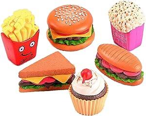 6 Pcs Dollhouse Miniature Food, Miniature Cake Food Dessert Models Dollhouse Decor, Miniature Hamburg Sushi Sandwich Popcorn Cake Pretend Play Mini Kitchen Food Cake Toppers