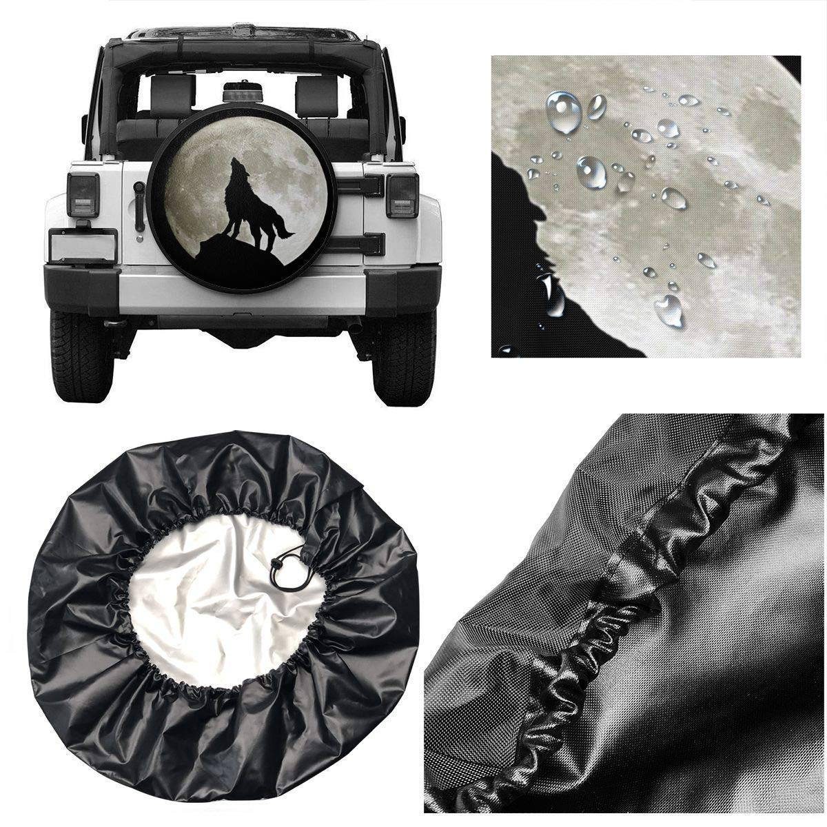 Sweet grape Wolf Howling at The Moon Polyester Universal Spare Wheel Tire Cover Wheel Covers Jeep Trailer Rv SUV Truck Camper Travel Trailer Accessories 15 inch