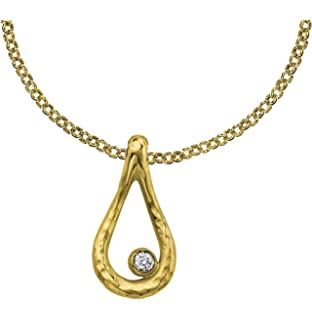 Dower & Hall Dewdrop Graduating White Topaz Beaten Nugget Pendant on 46cm Trace Chain oUwrXF