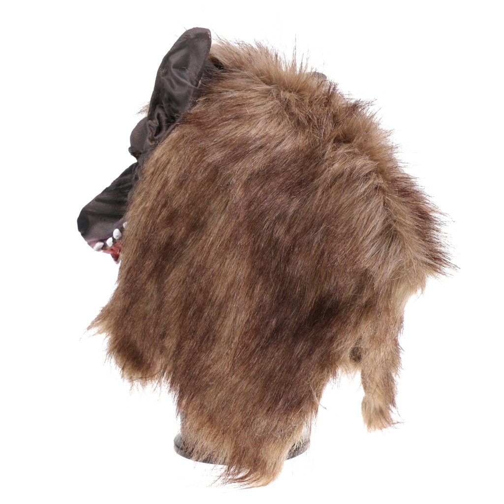 Jili Online Halloween Creepy Latex Full Head Overhead Animal Head Mask Howling Brown Wolf Masquerade Fancy Dress Costume Mask by Jili Online (Image #8)