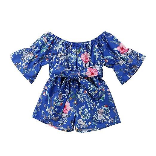 059b670e52ef Mealeaf ❤ Infant Toddler Baby Girls Off Shoulder Floral Print Bow Romper  Jumpsuit
