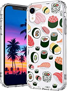 MOSNOVO Sushi Pattern Designed for iPhone XR Case,Clear Case with Design,TPU Bumper with Protective Hard Case Cover
