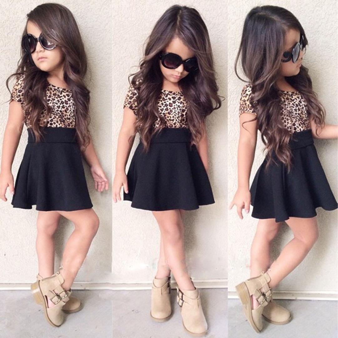 LUQUAN Baby Girls Kids Leopard Princess Dress