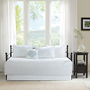 Madison Park Quebec Daybed Size Quilt Bedding Set - White, Damask – 6 Piece Bedding Quilt Coverlets – Ultra Soft Microfiber Bed Quilts Quilted Coverlet