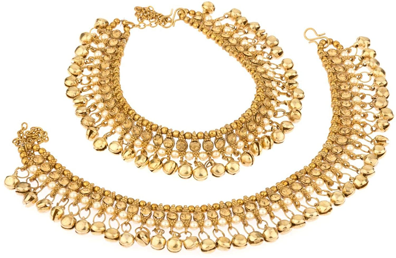 Bracelet Payal Foot Jewelry Efulgenz Indian Bollywood Gold Plated Faux Kundan Pearl Wedding Bridal Anklet Pair with Bells 2 Piece