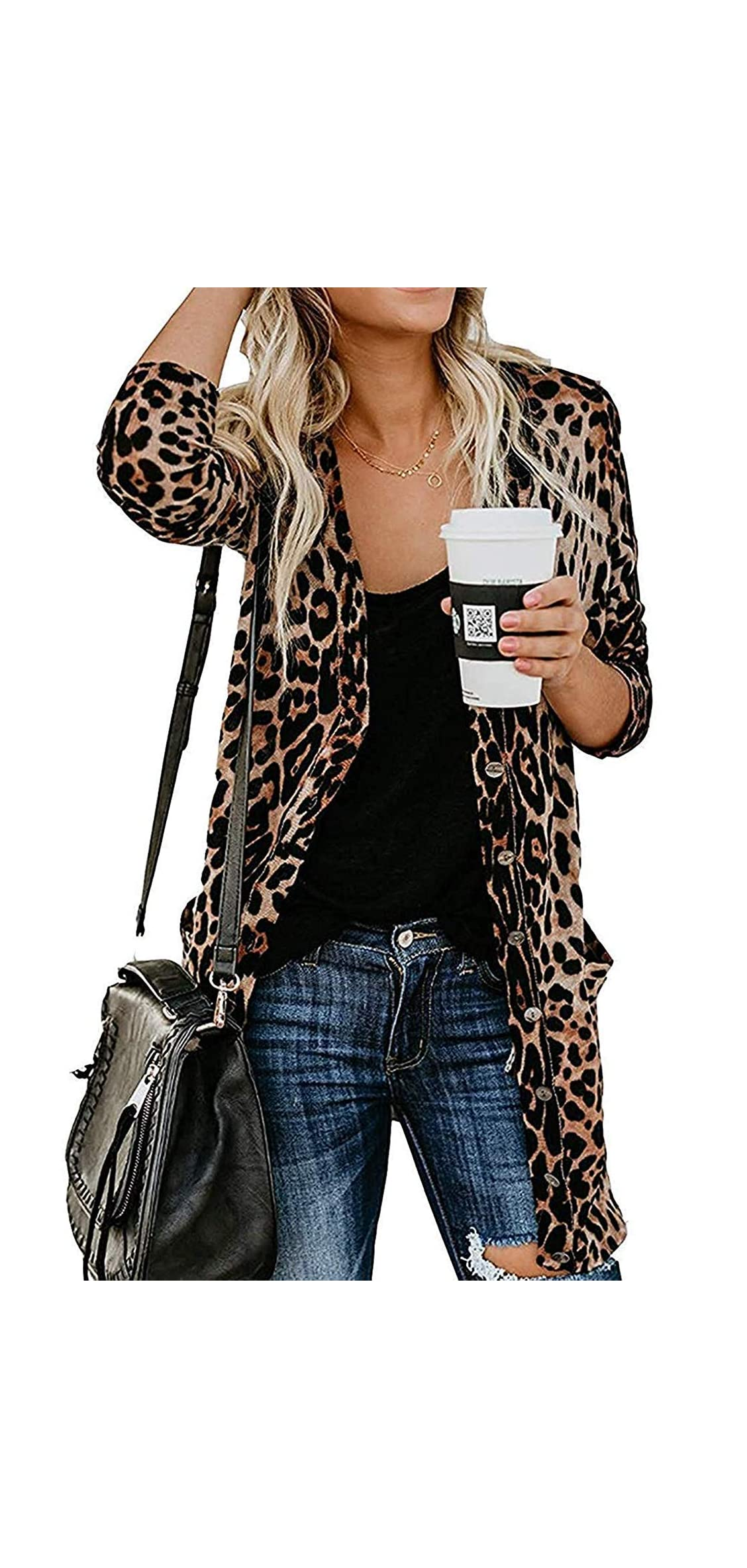 Women's Leopard Printed Cardigans Shirt Lightweight Button Down