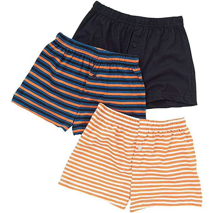 Boys Just Essentials 3 Pack Cotton Plain Striped Boxer Shorts Back To School