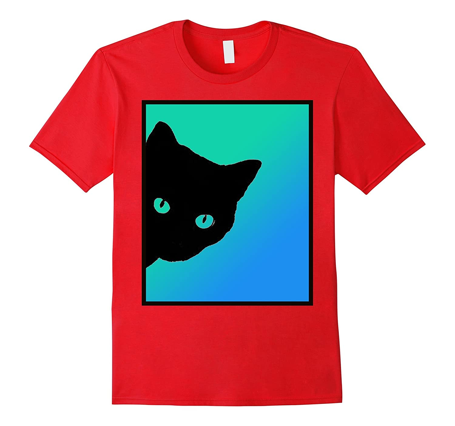 Black Cat Blue Green Tshirt Designed By Cats Made Better-FL