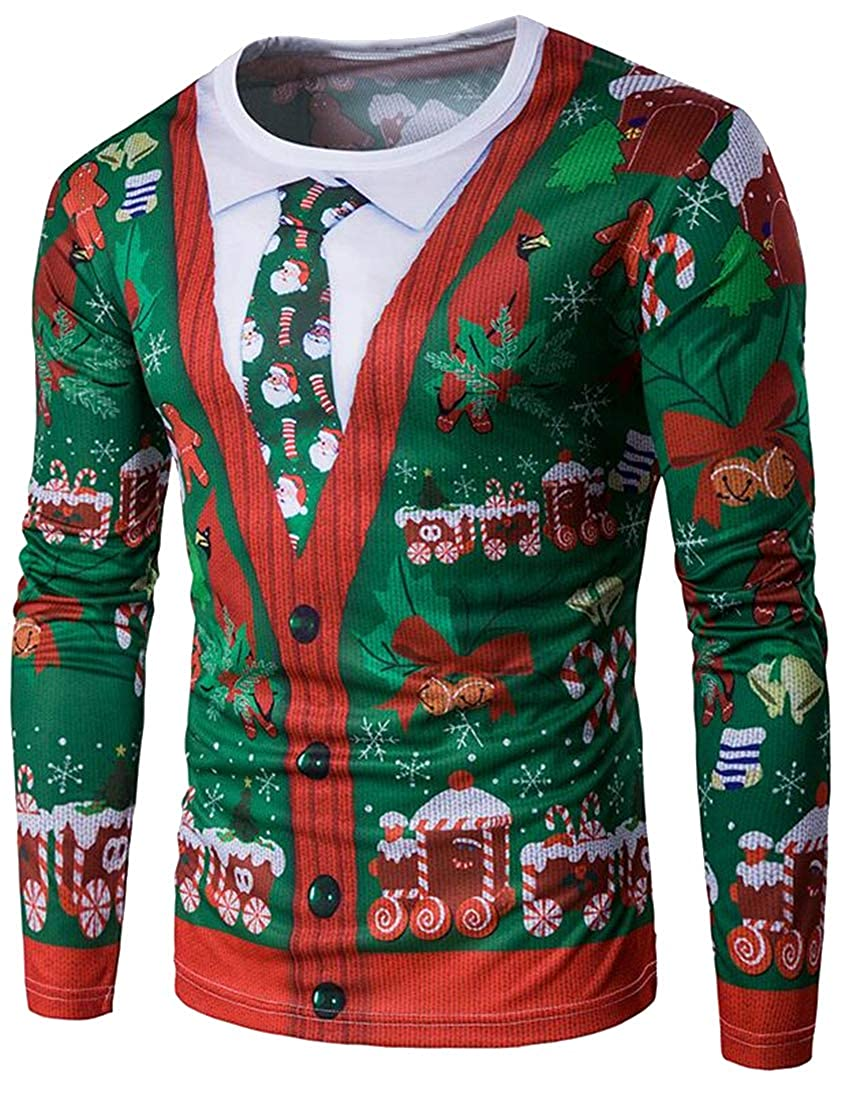 Teapolity Men Christmas Crew Neck Fake Two Pieces Long Sleeve Fashion Floral Top Shirt