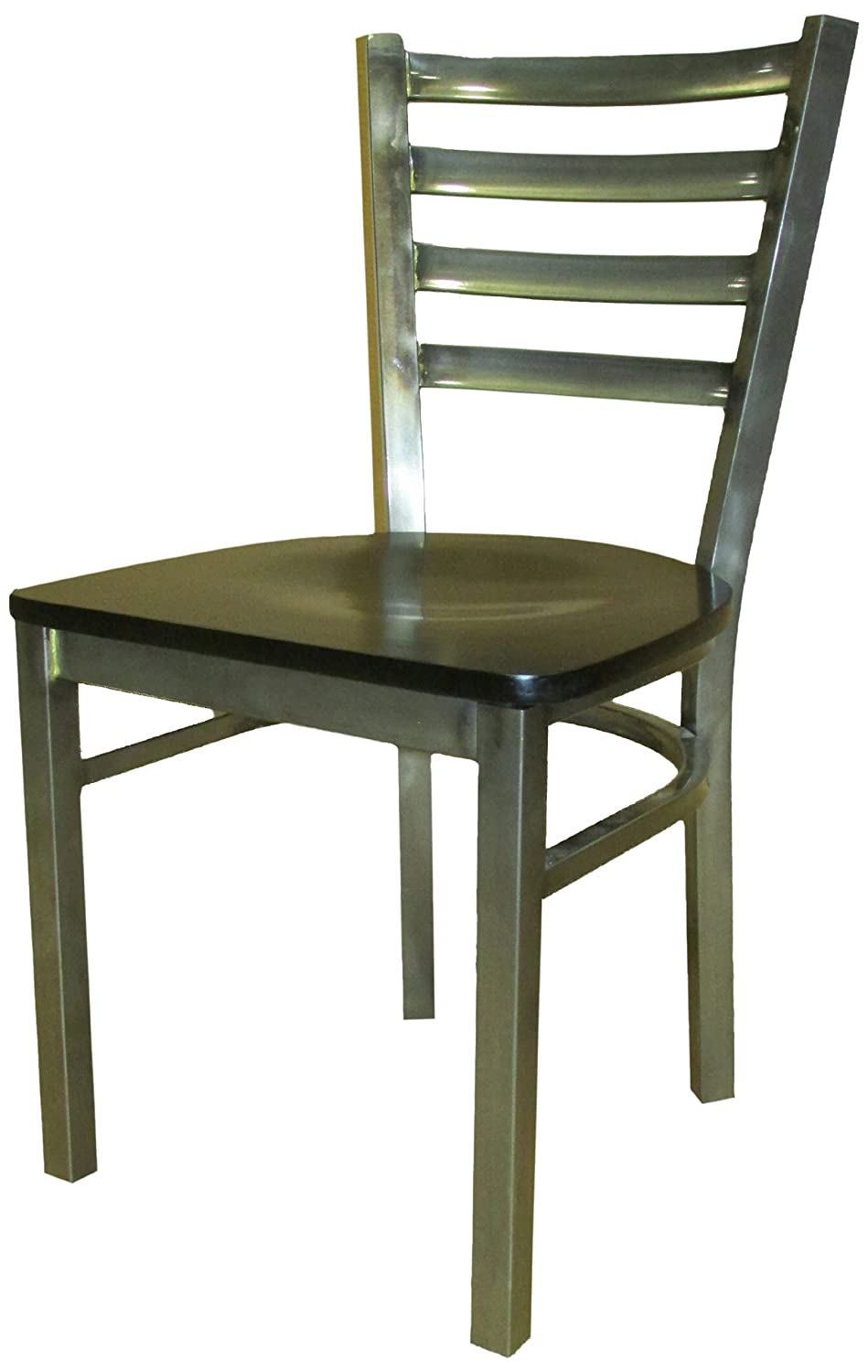 Oak Street Manufacturing SL135C-WB Metal Frame Clear Coat Dining Chair with Black Wood Seat, 18 Width x 32-3 8 Height x 17 Depth