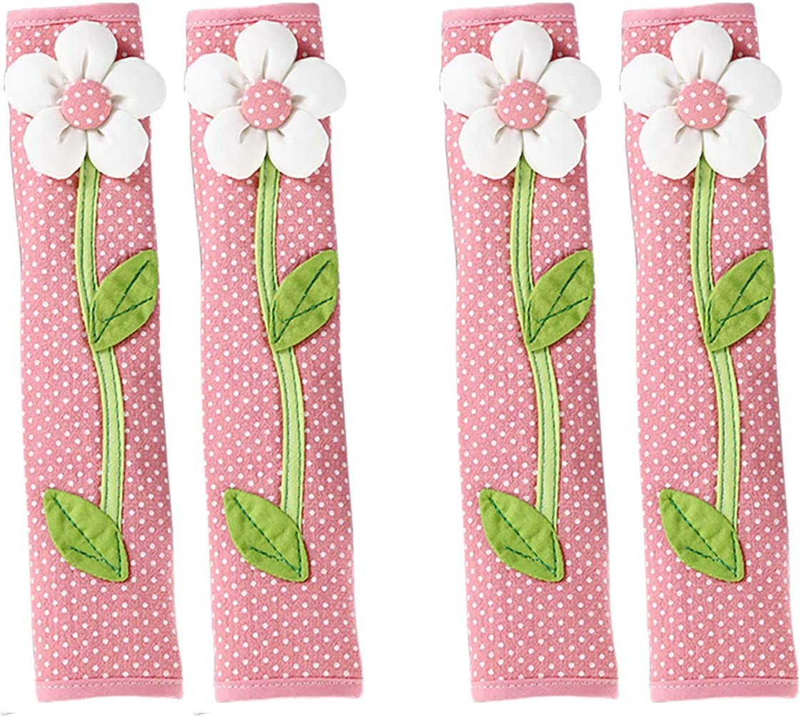 KEFAN Refrigerator and Door Handle Covers Kitchen Appliance Protective Gloves Anti-Slip Decor for Ovens Microwaves (4 Pink Flowers)