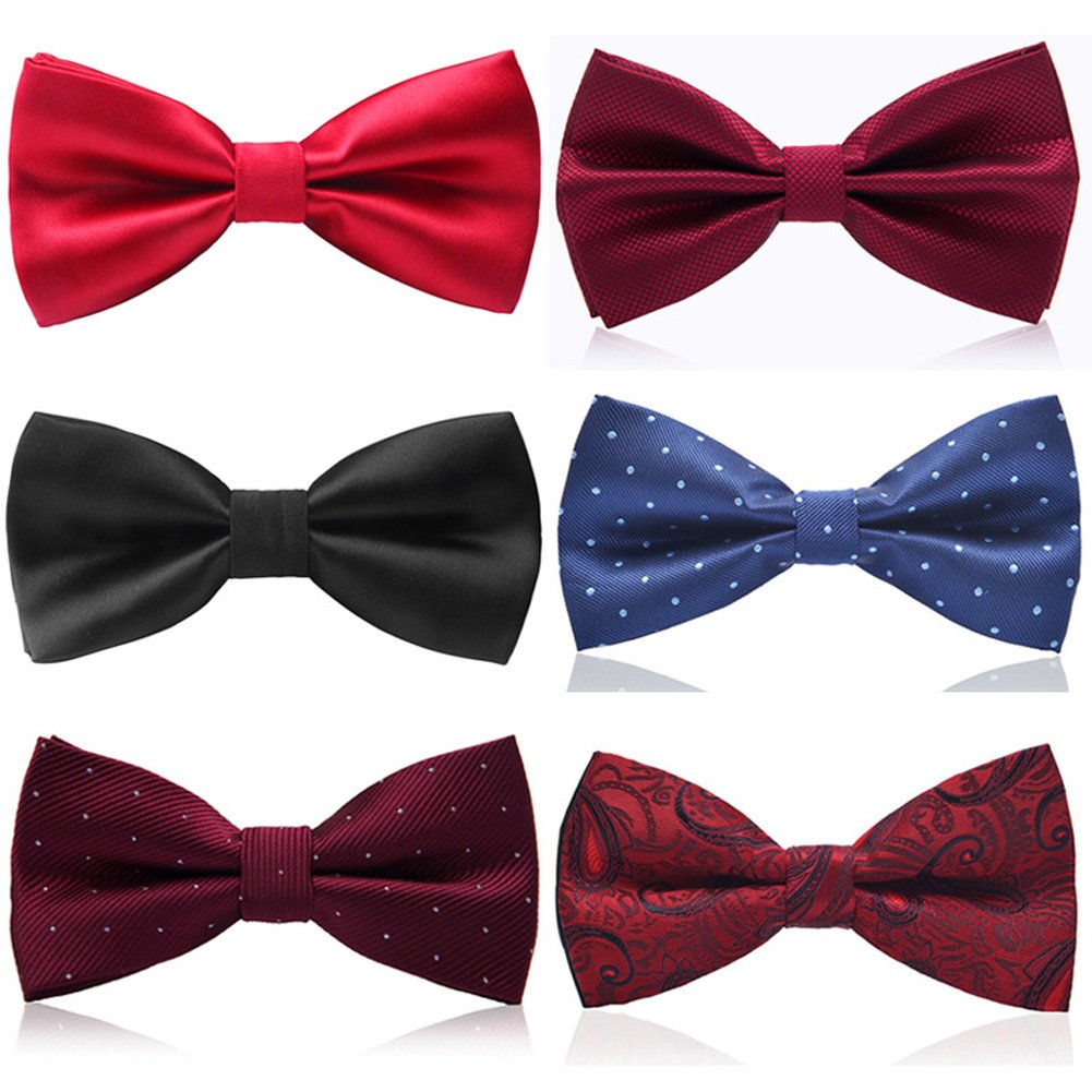 Weishang 6 PACKS Adjustable Classic Pre-tied bow ties for Men Wedding Party LJ03