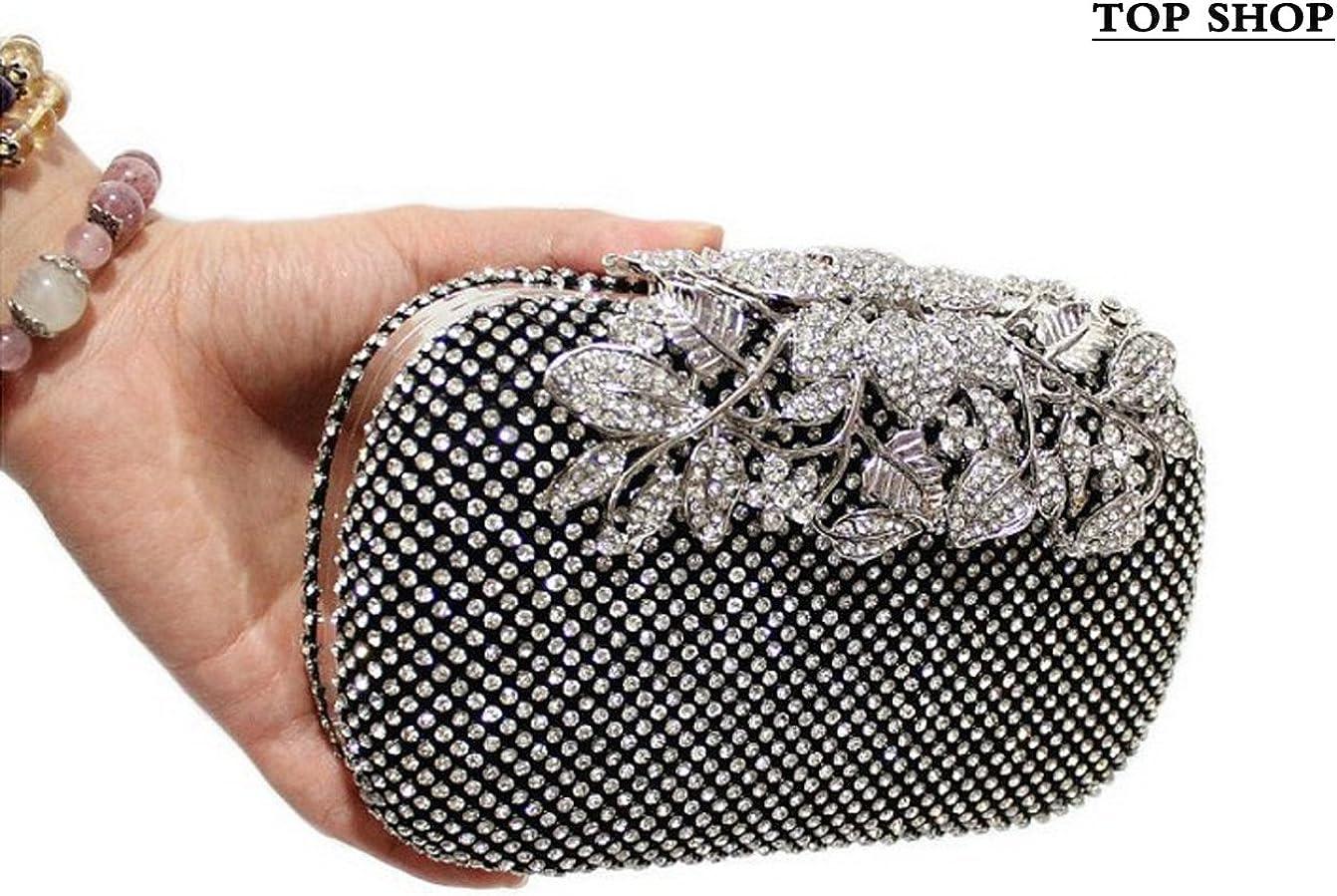 FTSUCQ Womens Flower Crystal Evening Bag Clutch Purse Shoulder Handbag Hobos
