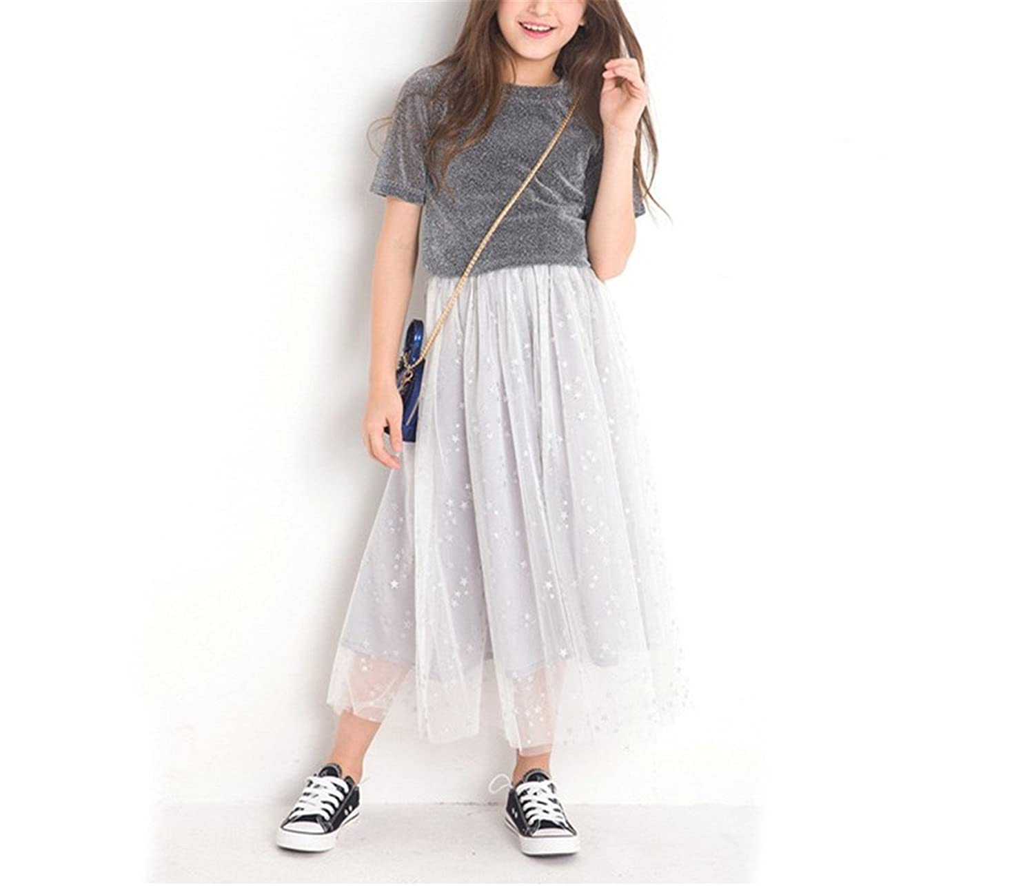Nerefy Girls 2 Pieces Clothing Set Skirt Top Tee Short Sleeve Solid Mesh