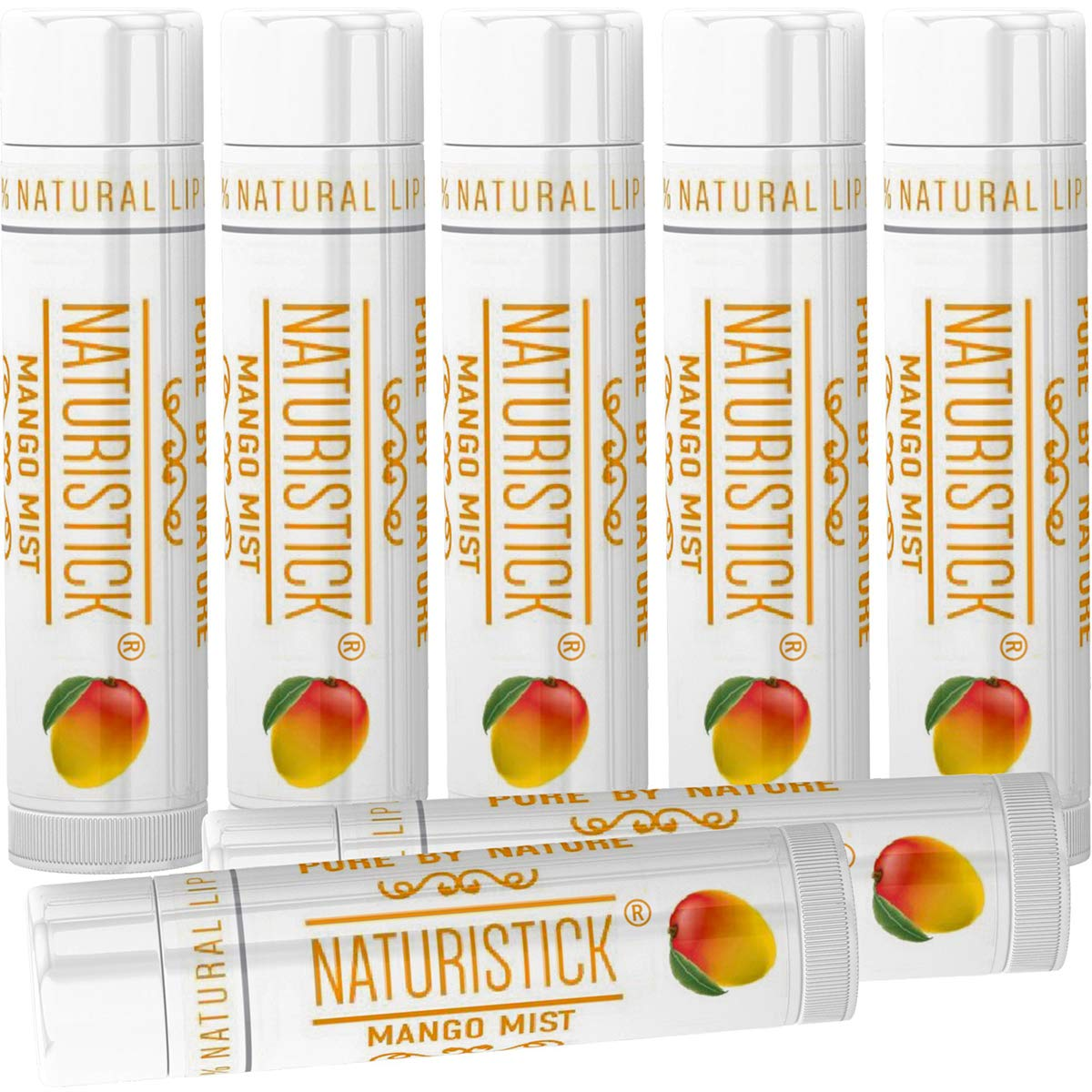 Mango Lip Balm Gift Set (7 Pack) by Naturistick. Best All-Natural Beeswax Chapstick for Healing Dry, Chapped Lips. Made with Aloe Vera, Vitamin E, Coconut Oil for Men, Women and Kids. Made in USA